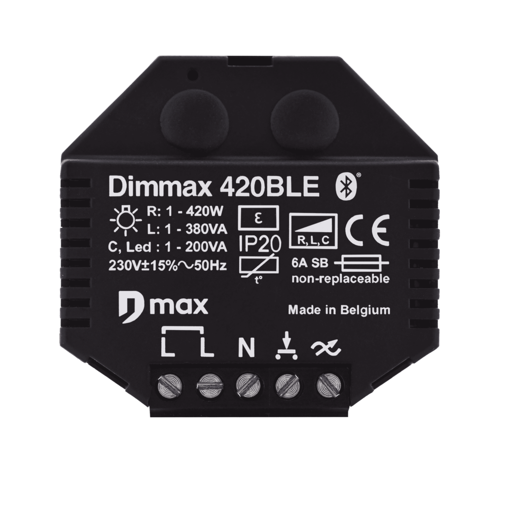 frontview of the dimmax 420BLE bluetooth dimmer