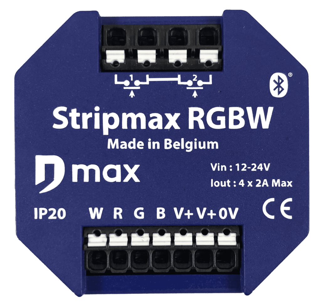frontview of the Stripmax RGBW Bluetooth LED strip module